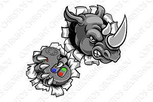 Rhino Gamer Holding Controller Mascot