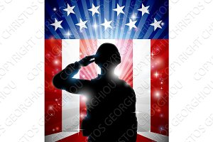 Soldier Saluting American Flag Background