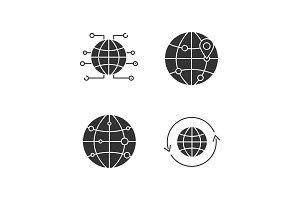 Worldwide glyph icons set