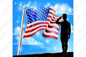 Patriotic American Flag Soldier Salute Design