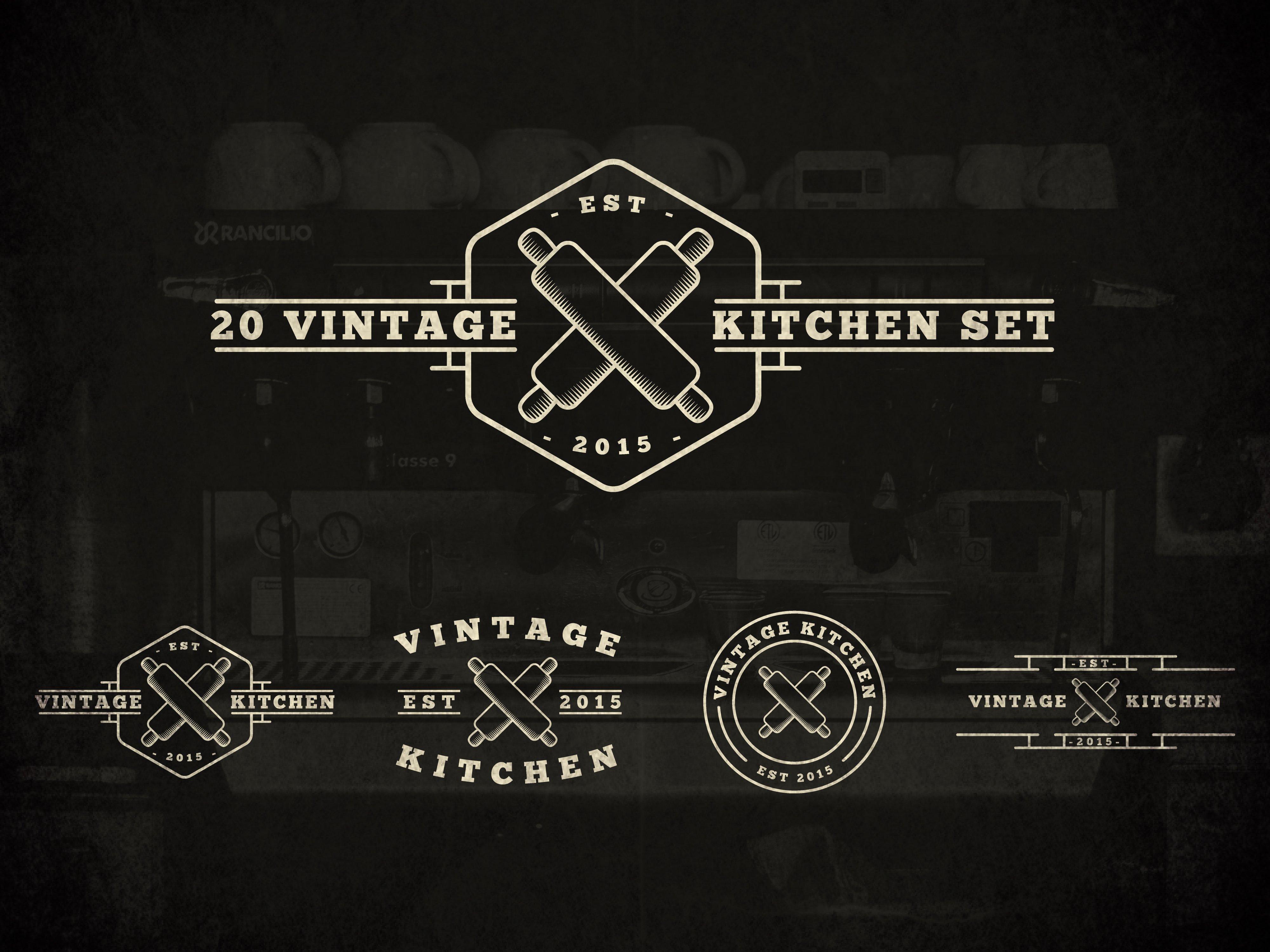 Kitchen Logo Design Ideas ~ Vintage kitchen logos logo templates creative market