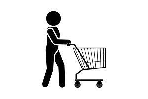 Man with shopping trolley icon