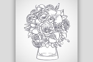 Bouquet of lisianthus and orchid