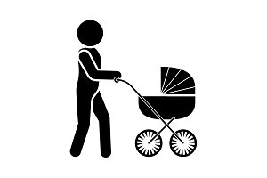 A man with a stroller. Father icon