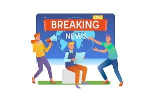 Mass media. Online breaking news concept.Young men and women are standing near big laptop.Flat vector illustration