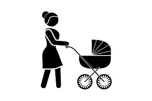 Woman with a Baby Stroller icon.