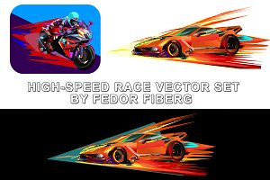 High speed racing vector set