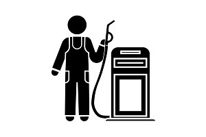 Refueling worker icon, refueller