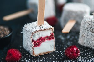 Lamington ice cream pops