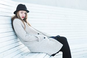 beautiful girl in coat