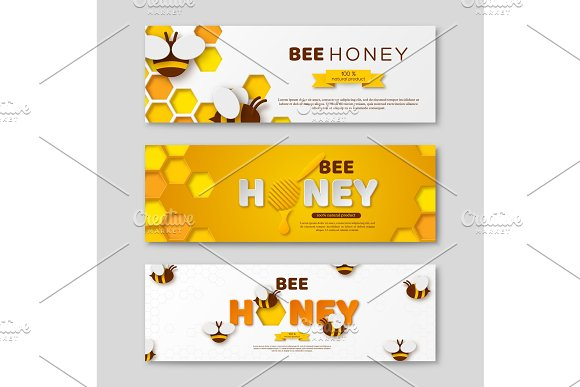 Bee Honey Horizontal Banners With Paper Cut Style Letters Comb And Bees Vector Illustration