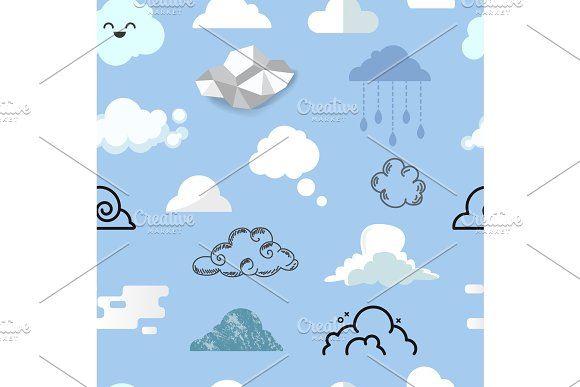 Cloud Icon Different Style Vector Icons Cloudy Design Nature Sky Shape Cloudscape Bubble Speech Illustration Seamless Pattern Background