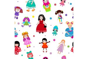 Vector doll toy cute girl female set illustration childhood baby dress face child beautiful dollhouse children baby toyhouse cartoon isolated seamless pattern background