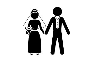Bride and groom icon.  Newlyweds