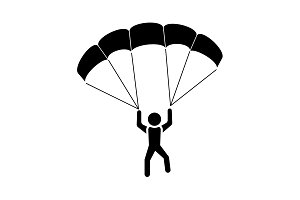 Skydiver icon vector black on white