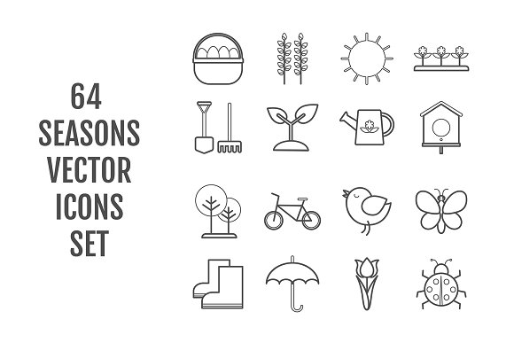 64 Vector Line Seasons Icons