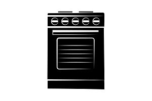 Stove icon vector black on white