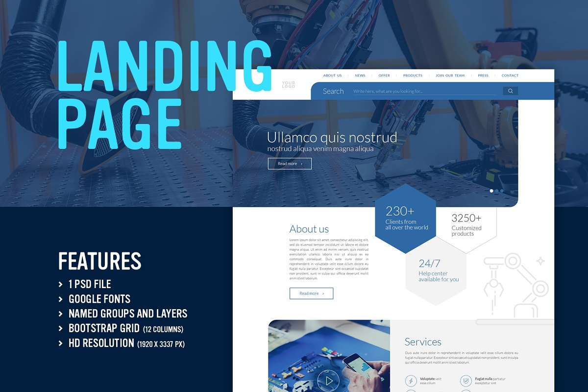 Blue Technology - Landing Page (PSD) ~ Landing Page Templates