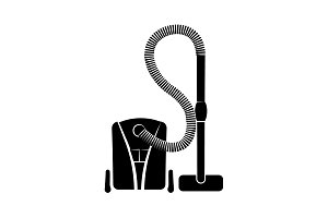Vacuum cleaner icon black on white
