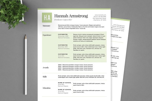 green resume template package resume templates creative market