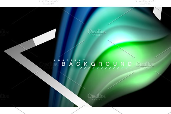 Rainbow fluid colors wave and metallic geometric shape in Illustrations