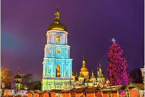 Christmas tree and Saint Sophia Cathedral, a UNESCO world heritage site in Kiev, Ukraine
