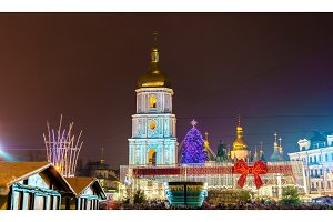 Christmas market and Saint Sophia Cathedral, a UNESCO world heritage site in Kiev, Ukraine
