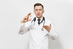 Shocked fun handsome young doctor man isolated on white background. Male doctor in medical uniform, stethoscope holding hourglass. Healthcare personnel, health, medicine concept. Time is running out.