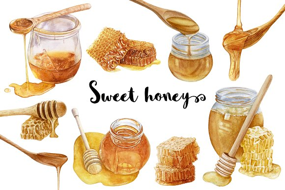 Watercolor Sweet Honey