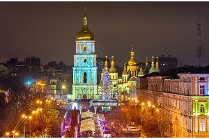 View of Saint Sophia Cathedral, a UNESCO world heritage site in Kiev, Ukraine
