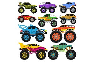 Monster truck vector cartoon vehicle or car and extreme transport illustration set of heavy monstertruck with large wheels isolated on white background
