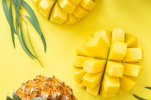 Tropical fruit pattern on yellow