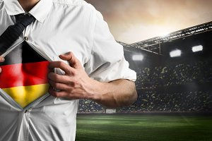 Germany soccer or football supporter showing flag