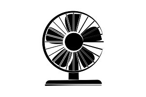 Fan icon vector black on white