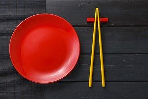 Empty plate and chopsticks set