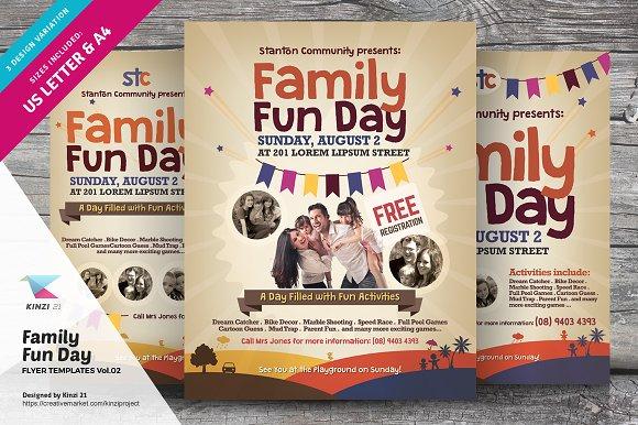family fun day flyers vol 02 flyer templates creative market