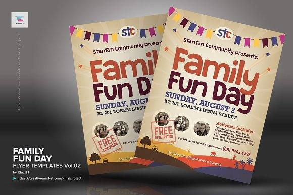 Family Fun Day Flyers Vol02 Flyer Templates Creative Market