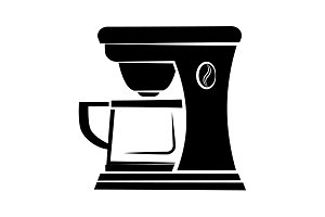 Coffee maker icon black on white