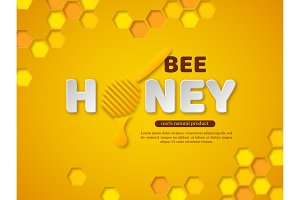 Bee honey typographic design. 3d paper cut style letters, comb and dipper. Yellow background, vector illustration.