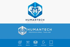 Human Tech Futuristic Logo