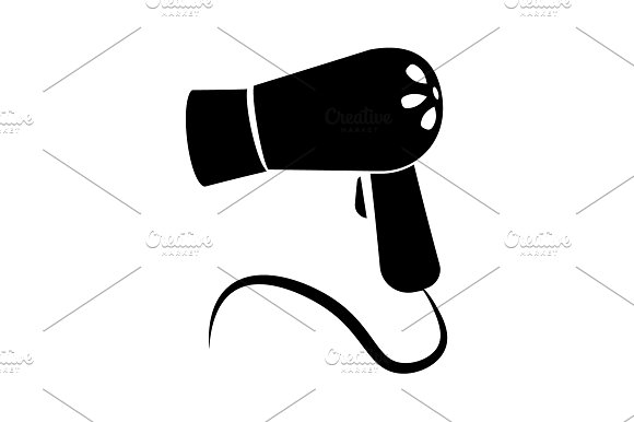 Hairdryer Icon Vector Black On White