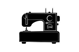 Sewing machine icon black on white