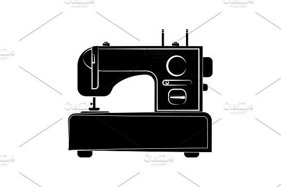 Sewing Machine Icon Black On White