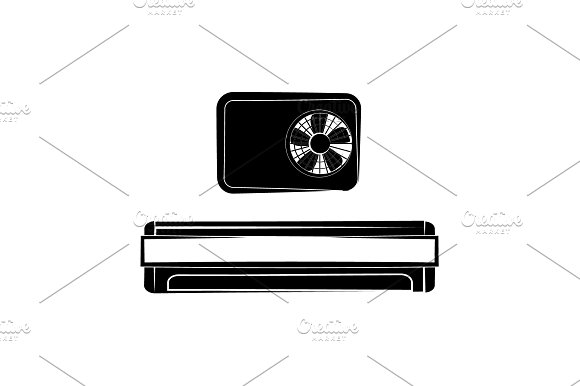 Air Conditioner Icon Black On White