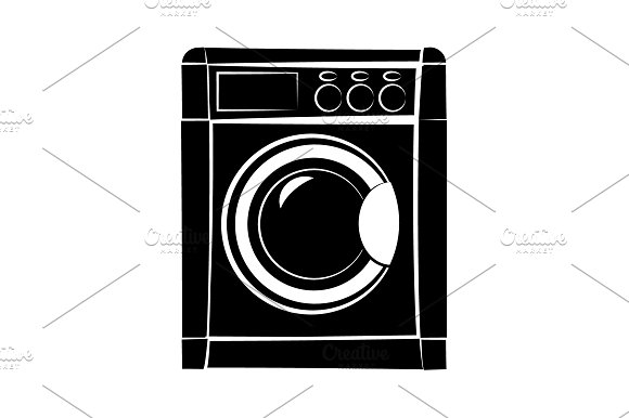 Washer Icon Vector Black On White