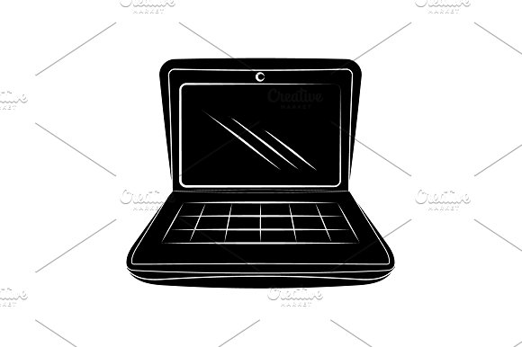 Laptop Icon Vector Black On White