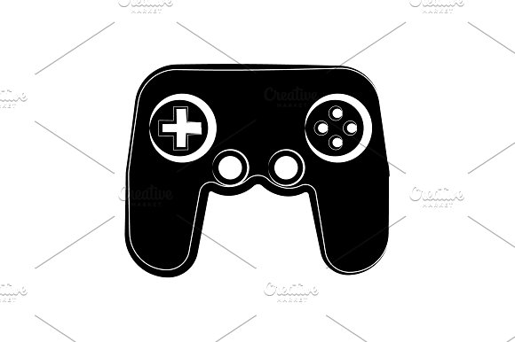 Game Console Icon Black On White