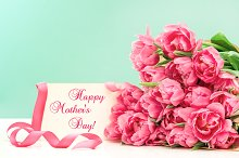 Pink tulips and greeting card