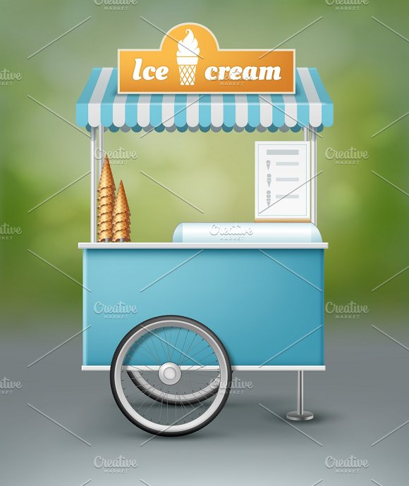 Blue Cart For Ice Cream