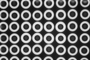 Horizontal black and white circle shapes illustration background
